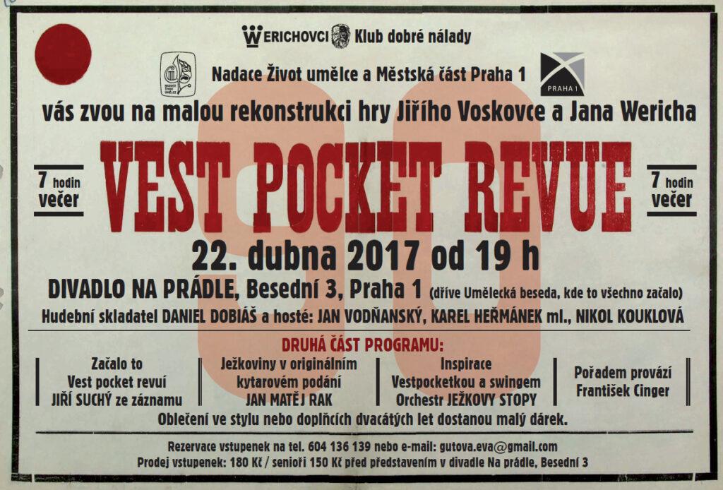 Rekonstrukce první hry Jiřího Voskovce a Jana Wericha Vest pocket revue v Divadle Na Prádle
