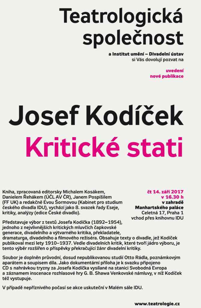 Přednáška a křest publikace Josef Kodíček – Kritické stati