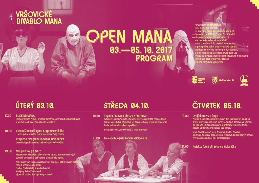 Festival Open MANA zve do Vršovického divadla na nová představení