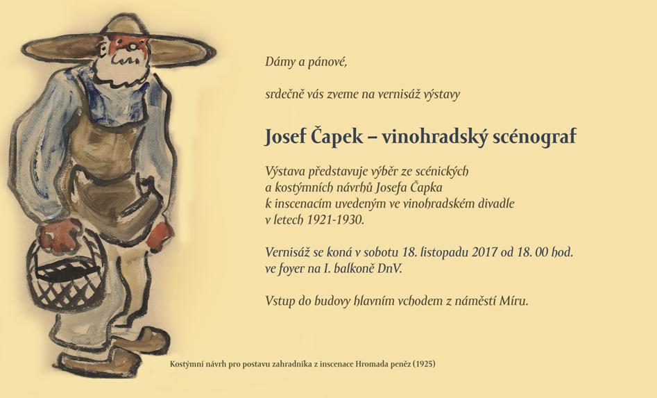 Vinohradské divadlo otevřelo výstavu představující Josefa Čapka jako kostýmního výtvarníka a scénografa