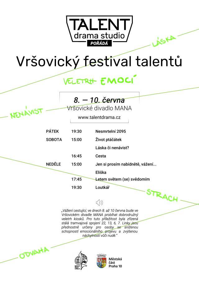 9. ročník Vršovického festivalu talentů – Divadelní defilé paradigmat existenciální filozofie