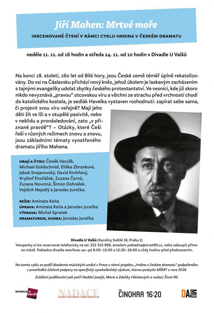 Inscenované čtení v rámci cyklu Hrdina v českém dramatu: Jiří Mahen – Mrtvé moře