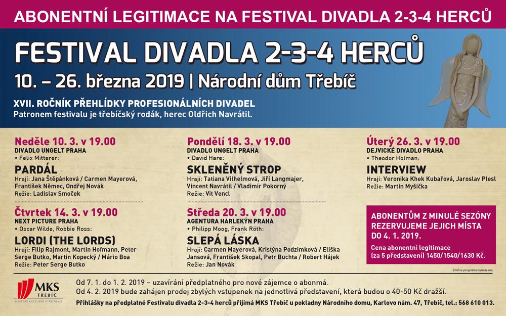 V Třebíči se chystá 17. ročník Festivalu divadla 2-3-4 herců