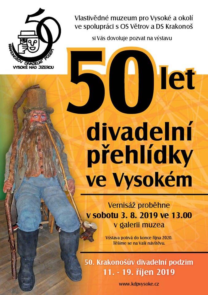 Pozvánka na výstavu 50 let divadelní přehlídky ve Vysokém