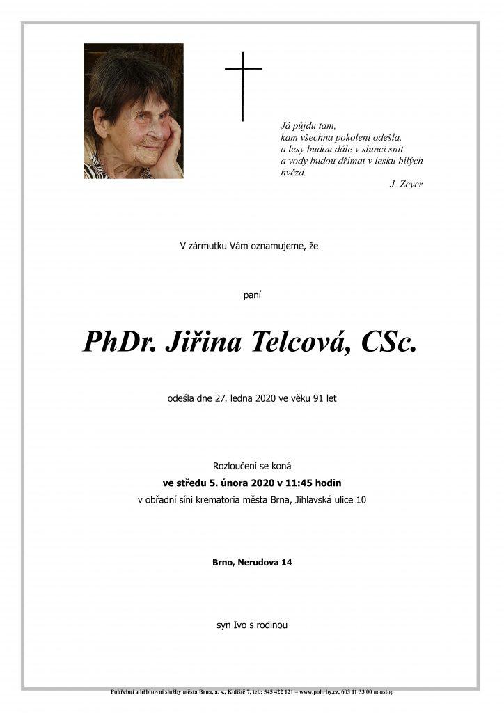 Zemřela PhDr. Jiřina Telcová, CSc.