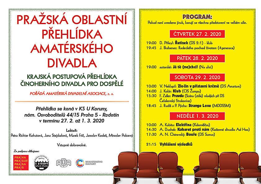 Pozvánka na Pražskou oblastní přehlídku amatérského divadla POPAD 2020